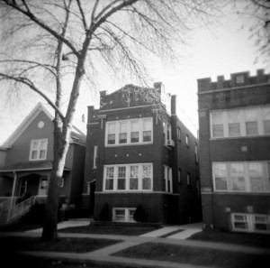 Contemporary view of the house at 2425 Eastwood avenue where 15-year-old Cleo Trohatos was accidentally slain in a re-enactment of the Sio-Wicklund shooting by her friend, 16-year-old Joseph T. Wilson. (Photograph by The Comtesse Despair.)