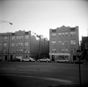 A contemporary view of the apartment building at 4186 Elston avenue where both Ruth Wicklund and Henry Sio resided in 1931. (Photograph by The Comtesse DeSpair.)