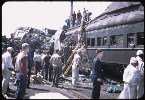 Rescuers at work in the wreckage. (Photo from the Charles W. Cushman Photograph Collection)