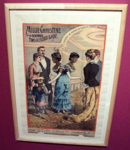 Millie and Christine poster from their Ringling Brothers circus days, as photographed by the Comtesse at the Circus World Museum in Baraboo, Wisconsin.